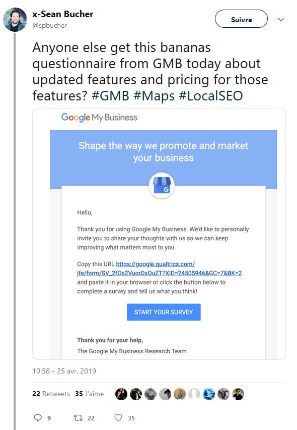 Google My Business payant tweet