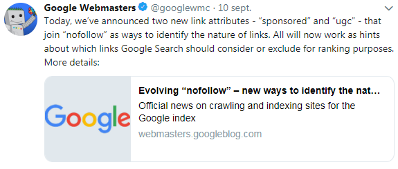 Annonce Twitter attributs sponsored et ugc