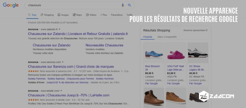 Une nouvelle apparence pour les résultats de recherche Google