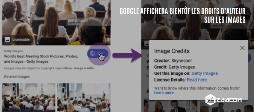 Google affichera bientôt les droits d'auteur sur les images