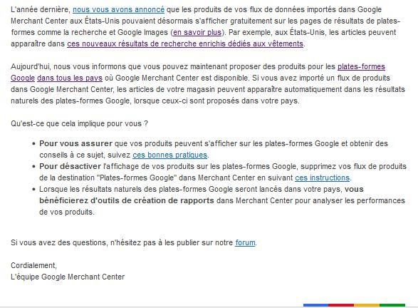 communication Google sur l'affichage des produits populaires